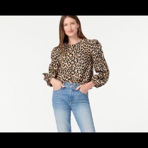JCrew Leopard Ruffle-sleeve Top XXS